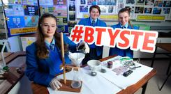 Maeve Stillman (15), Caitlin McFadden (16) and Hollie Harkin (16) from St Mary's College, Londonderry, are among the students shortlisted for BTYSTE