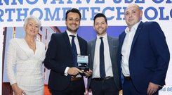 Portland 88 by Barnett Developments won the Belfast Telegraph Innovative Use of Smartphone Technology Award. From left: Pamela Ballantine, Ryan Dougan, Guil Nascimento, and James Burleigh