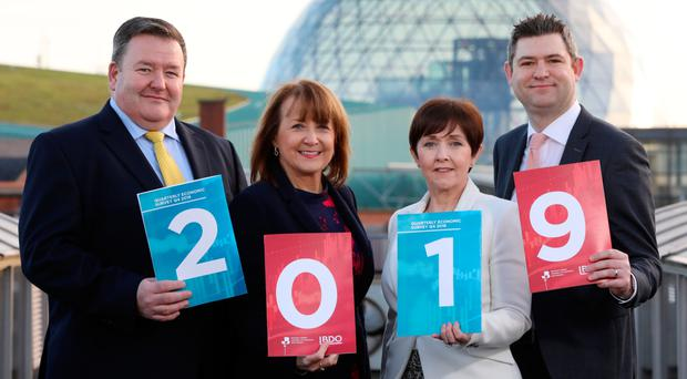 From left, Brian Murphy (BDO), Ann McGregor (NI Chamber), Maureen O'Reilly (QES economist) and Chris Morrow (NI Chamber)