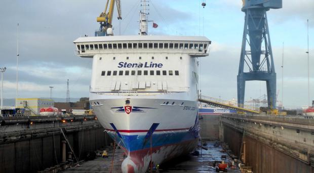 One of the five Stena Line ferries undergoing a refit at Harland and Wolff