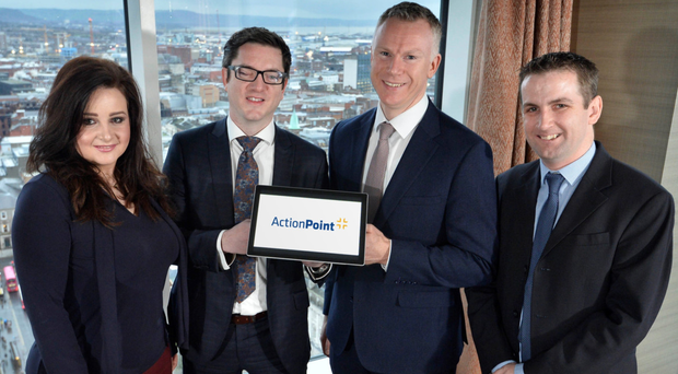 From left, P2V Systems commercial technology director Jessica McIlwaine, P2V chief executive Stephen McCann, ActionPoint chief executive David Jeffreys, and ActionPoint CTO John Savage