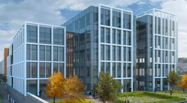 An artist's impression of the new office development at Ebrington