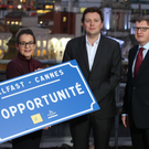 Jackie Henry, senior partner at Deloitte NI and chair of the Belfast MIPIM taskforce; Donal Lyons, chair of Belfast City Council's city growth and regeneration committee, and Gareth Graham of Oakland Holdings