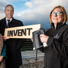 Elaine Smyth (Catalyst Inc) and Gavin Kennedy (Bank of Ireland UK) with last year's winner of 'Invent' Julie and David Gray