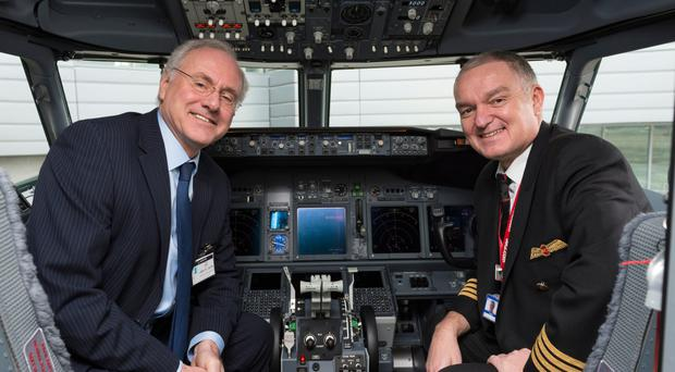 Antrim-born pilot Stephen Gates (right) with Terry Snow from Jet2