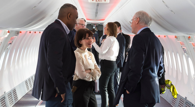 Belfast Telegraph business editor Margaret Canning chats to Jet2's Terry Snow inside the fuselage of the air carrier's latest Boeing NG 800-737 aircraft