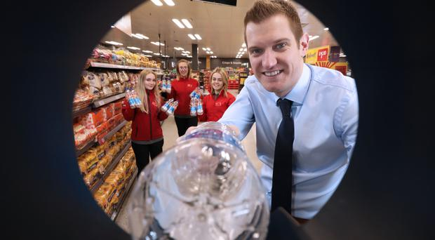 Matt Downes, head of format development for Iceland UK, with Iceland employees Jade Craig, Nicole Killyleagh and Ciara McIlwee in the Park Centre store, Belfast