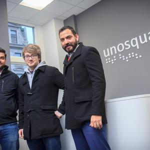 Giancarlo Di Vece, Mark Brown and Eduardo Arias of Unosquare, which is expanding its operations in Belfast