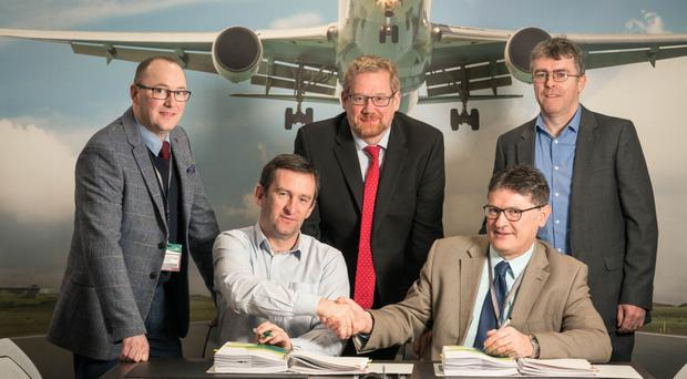 Back, from left: Tomas Grimes, Ireland West Airport; Brian McKavanagh, Atkins Ireland, and Ian Donaghey, Clare Civil Engineering Company. Front: Steve Turner, Lagan Airport Maintenance, and Joe Gilmore, Ireland West Airport