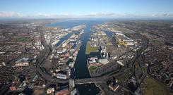 An aerial view of the Belfast Harbour estate