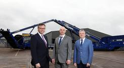 Alastair Hamilton of Invest NI with Edge Innovate's Niall McKiver (operations director) and Darragh Cullen (managing director)