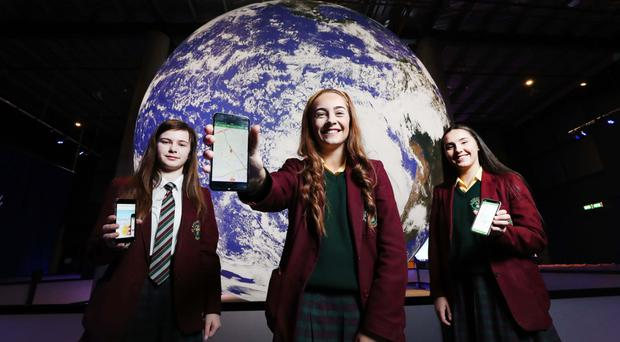 Launching Esri's ArcGIS at W5 in Belfast were Caitlin Brady, Ellen McNally and Aiesha Mouhsine of St Ronan's College in Lurgan
