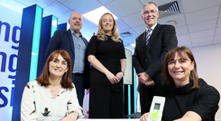 Back row from left: Gordon Merrylees (RBS) with Ulster Bank's Lynsey Cunningham and Richard Donnan are joined by Dr Roisin Molloy (front left) and Julie Brien from Belfast firm Trimedika, which won the £1,000 pitching competition during the relaunch of the Ulster Bank Entrepreneur Accelerator