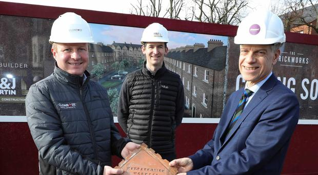 Announcing the social housing scheme are Stephen Davey (Clonrose Developments), Michael McDonnell (Choice Housing) and Gareth Moore (H&J Martin)