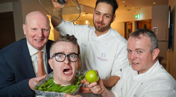 From left: SRC chief executive Brian Doran and TV mentalist David Meade with renowned chefs and former SRC students Alex Green and Barry Smyth