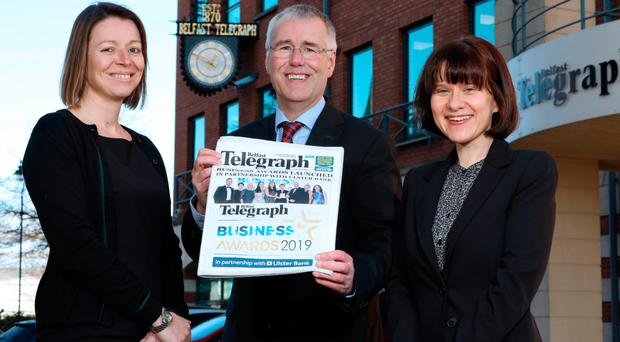 Sarah Little, publishing director for Northern Ireland at INM; Ulster Bank head Richard Donnan, and Belfast Telegraph business editor Margaret Canning yesterday