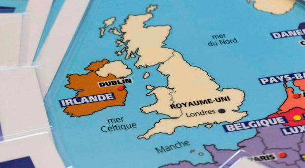 Maps featuring the European Union without Britain were printed by French publishing house Aedis in March