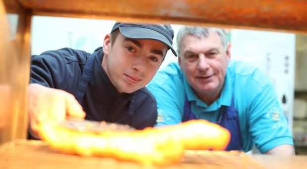 Barry McMullan and John Morton in the fish and chip shop