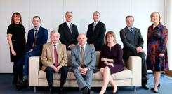 Professor Durkin, chairman of the awards' judging panel (seated, centre), is joined by (seated) John Simpson and Clare Guinness, and (back, from left) Ann McGregor, Ian McConnell, Roger Pollen, Richard Donnan, Geoff Simmons and Ciara Lagan.