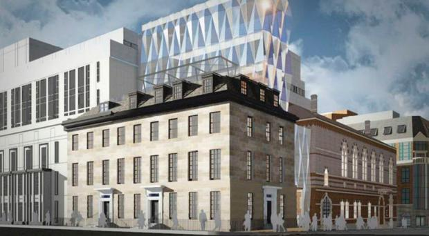 An artist's impression of the proposed glass tower extension to Clarence Chambers in Belfast
