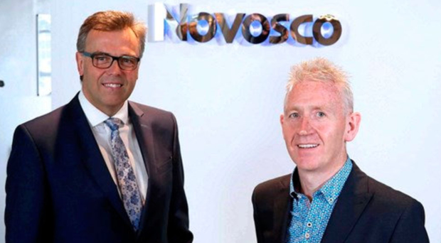 IT firm Novosco was last year's IT Company of the Year. Its founder Patrick McAliskey (right) was joined by Invest NI boss Alastair Hamilton