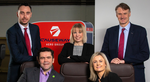 From left: Mark Sterritt, British Business Bank; Michael Rice, Causeway Aero Group; Sarah Newbould, British Business Bank; Rhona Barbour, WhiteRock Capital Partners, and William McCulla, Invest NI