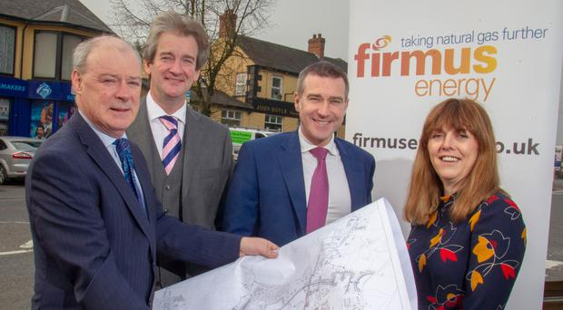From left, Liam Hannaway, chief executive of Newry, Mourne and Down District Council; Michael Scott, Firmus Energy managing director; Niall Martindale, director of regulation and pricing at Firmus Energy; and Tanya Hedley from the Utility Regulator for Northern Ireland