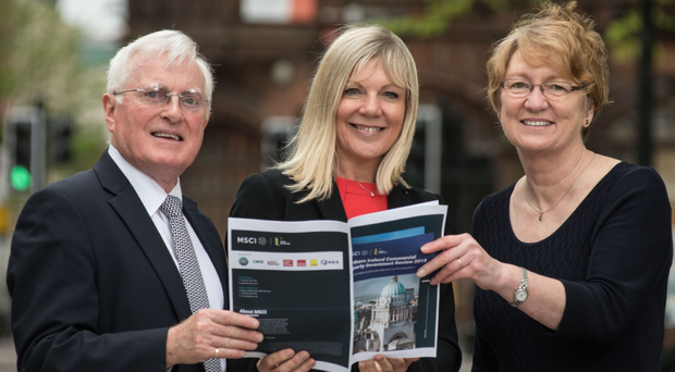 From left, Professor Alastair Adair, deputy vice chancellor at Ulster University, Suzanne Wylie, chief executive of Belfast City Council, and Susan Mason, RICS Northern Ireland regional manager, launch the Northern Ireland Commercial Property Investment Review 2018