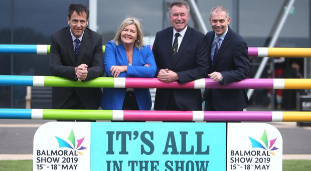 From left: launching the 2019 Balmoral Show in partnership with Ulster Bank are Cormac McKervey, Rhonda Geary, operations director at RUAS, Alan Crowe, RUAS CEO, and Nigel Walsh, corporate and commercial banking director at Ulster Bank