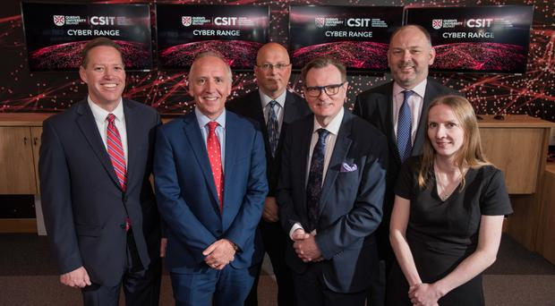 From left: Kevin R Powers, Dr Godfrey Gaston, Marc French, Professor Ian Greer, Patrick Magee and Professor Maire O'Neill