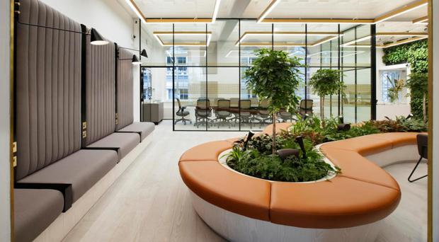 The reception area of One Heddon Street workspace