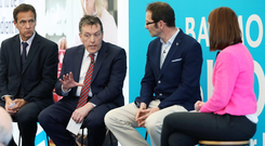 From left: Speakers Cormac McKervey (Ulster Bank), George Mullan (ABP) and David Keeling (Keelings Retail) with BBC's Clodagh Rice