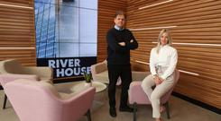 Michael Carlin and Becky Mercer in Zymplify's new Belfast office at River House, one of its three new advisory hubs
