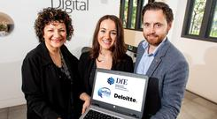 Ann Williamson of the Department for the Economy, Marie Claire McGovern, previous Deloitte Academy participant, and Ciaran Fitzpatrick, technology director at Deloitte