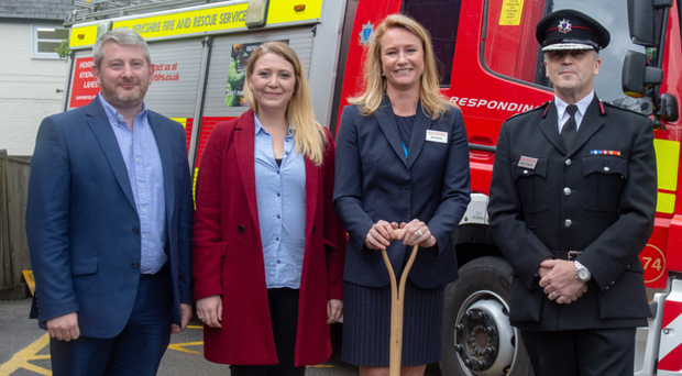 From left: Steven Lennon of HLM, architectural technologist Bianka Helberg, Alex Brown and Trevor Ferguson of the Royal Berkshire Fire and Rescue Service