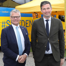 Stena Line chief executive Niclas Martensson meets Swedish Ambassador to the UK Torbjorn Sohlstrom on his visit to Belfast
