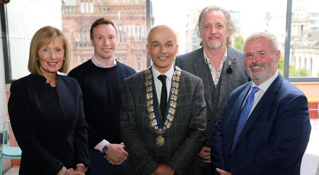 Rajesh Rana, president of Belfast Chamber, with senior executive council members Anne McMullan, Visit Belfast, Anthony Best, Lacuna Developments, Michael Stewart, House, and Christopher McCausland of Value Cabs