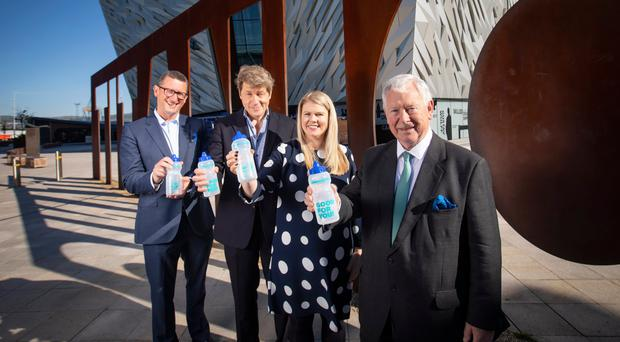 Duncan Tait, president and CEO of Fujitsu EMEIA and head of Fujitsu UK; Leo Johnson, PwC disruption lead; Sara Venning, Institute of Water president-elect and CEO of Northern Ireland Water; and Sir John Parker, CBE at Titanic Belfast for the Institute of Water conference
