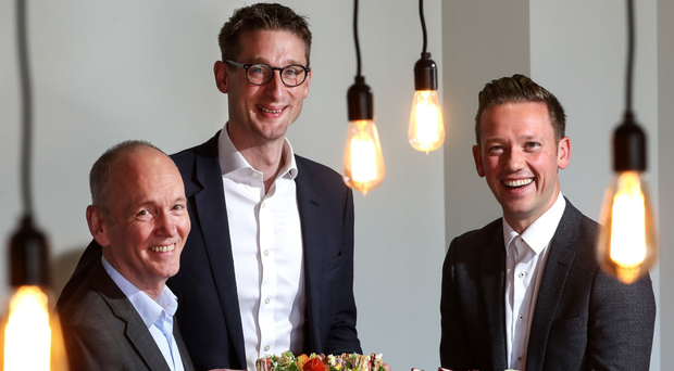 From left, Howard Farqhuar, chairman of Around Noon, John Mathers, Barclays Corporate Banking and Gareth Chambers, Around Noon chief executive