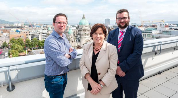 Eamon O'Neill, Ian Wasson and Margaret Dolan who lead the Belfast team at Cowen