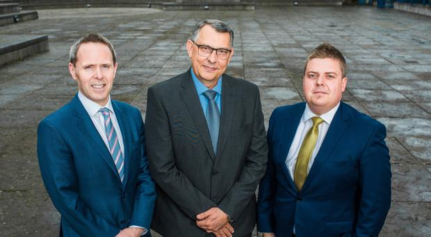 From left: Michael Neill, head of office at A&L Goodbody; Flavio Malnarcic, Moy Park chief financial officer, and Ulster Business editor John Mulgrew