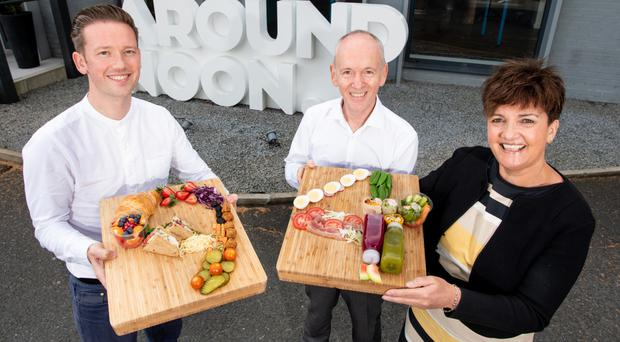From left: Gareth Chambers, Around Noon chief executive, with company chairman Howard Farquhar and Grainne McVeigh from Invest NI