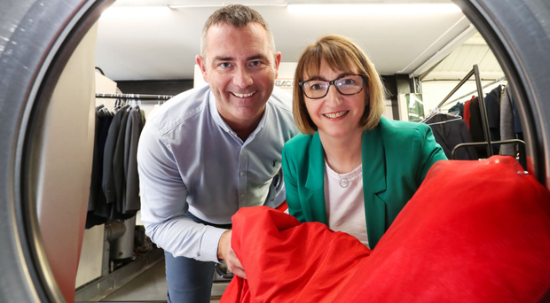 Judith Armstrong from Danske Bank with Gareth Hodgen, managing director of White Label Cleaners