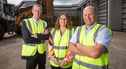 Adrian Moynihan, head of First Trust Bank; Elaine Shaw, CEO of Northway Mushrooms; and Tom McDonnell, general manager, Northway Substrate