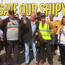 Coronation Street actor Charlie Lawson with shipyard workers yesterday