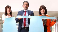 At the launch are (left) Dr Karen Rafferty QUB, Peter Guzhar from sponsors Carson McDowell, and Margaret Canning, Business Editor Belfast Telegraph