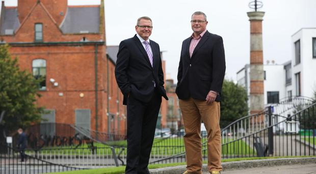 Derek Andrews of Invest NI (left) with Ross Wootton from Bitwise