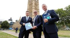 Retail NI chief executive Glyn Roberts, Hospitality Ulster chief executive Colin Neill and Manufacturing NI chief executive Stephen Kelly at Westminster