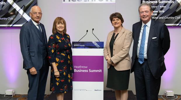Mervyn McCall of FSB, Ann McGregor of NI Chamber, DUP leader Arlene Foster, and Phil Wilbraham, expansion programme director at Heathrow