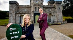 Killeavy Castle located at the foot of Slieve Gullion in County Armagh has achieved a four star grading from Tourism Ni. Pictured at the announcement (L to R) are Caroline Adams from Tourism NI and Jason Foody, General Manager of Killeavy Castle.
